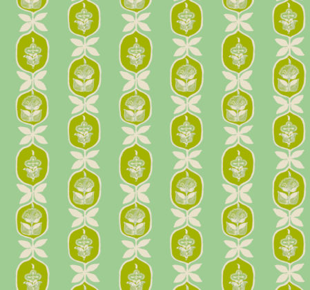 Linen fabric printed with hand painted floral stripe medallion design repeat pattern in greens on bright green background