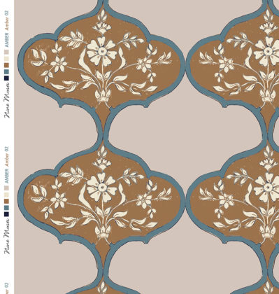Linen fabric with amber brown large repeated pattern