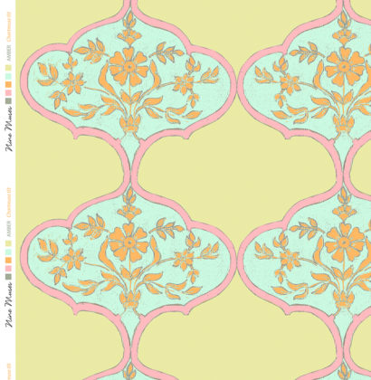Linen fabric printed with repeat pattern in traditional design in bright colours