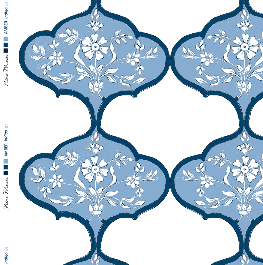 Linen fabric with blue large repeated pattern