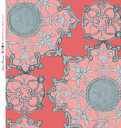 Linen fabric printed with large traditional repeat pattern in tile design in coral peach