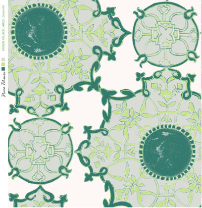 Linen fabric printed with a hand painted traditional tile design repeat pattern in bright green on white background