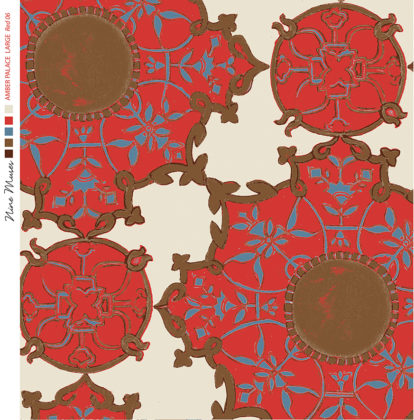 Linen fabric printed with large traditional repeat pattern in tile design in red