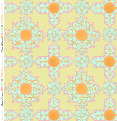 Linen fabric with large repeated pattern printed design of decorative on colourful background