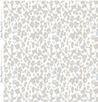 Linen fabric printed with animal repeat pattern in flax grey blue taupe design