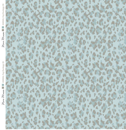 Linen fabric printed with animal repeat pattern in duckegg green blue and taupe design