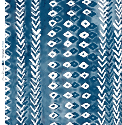 Linen fabric with small repeat arrow printed pattern