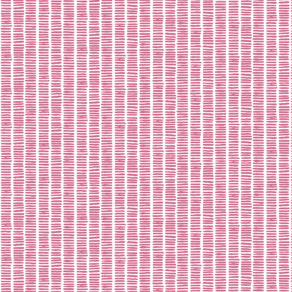 Linen fabric printed with hand painted dash stripe pattern in simple design in pink