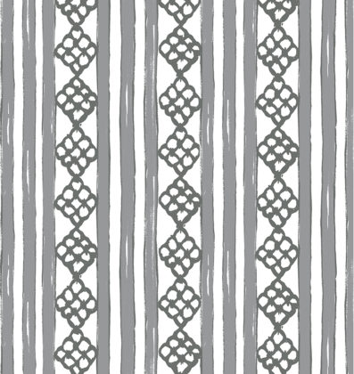 Linen fabric printed in stripe pattern repeat design in charcoal