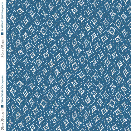 Linen fabric with small repeat diamond printed pattern on colourful background