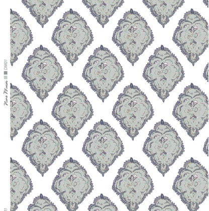 Linen fabric with large repeated printed design of large decorative diamond on plain background