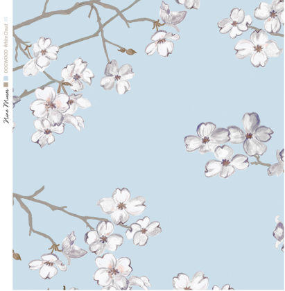Linen fabric printed with delicate floral design of dogwood flower repeated pattern on plain background