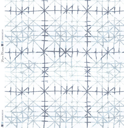 Linen fabric with a plain background and printed with a drawn line geometric freestyle design repeat