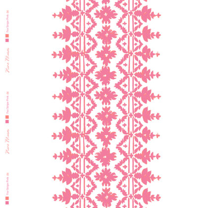 Linen fabric with a detailed large stripe repeated colourful pattern on a white background