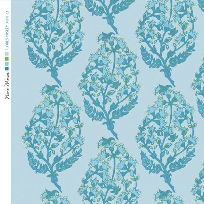 Linen fabric printed with a delicate hand painted floral paisley repeat pattern in dark aqua blue on pale aqua blue background
