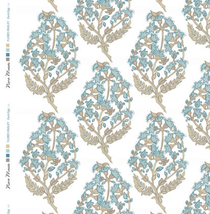 Linen fabric printed with a delicate hand painted floral paisley repeat pattern in indigo duckegg on white background