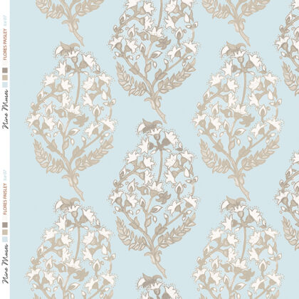 Linen fabric printed with a delicate hand painted floral paisley repeat pattern in grey taupe on pale ice blue background
