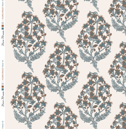 Linen fabric printed with a delicate hand painted floral paisley repeat pattern in petrol on white background