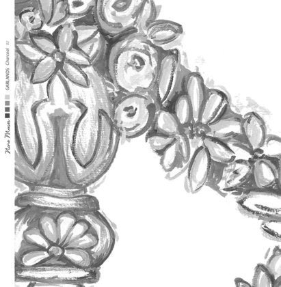 Linen fabric printed design of delicate drawn floral garland repeat pattern in charcoal on white background