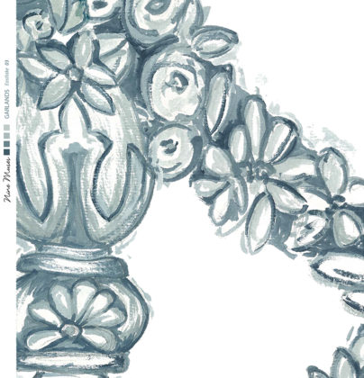 Linen fabric printed design of delicate drawn floral garland repeat pattern in blue green on white background