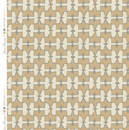 Linen fabric printed geometric design repeat pattern in contrast caramel and taupe
