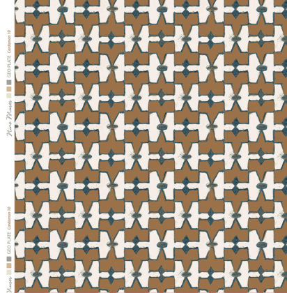 Linen fabric printed geometric design repeat pattern in contrast cardamom brown and natural