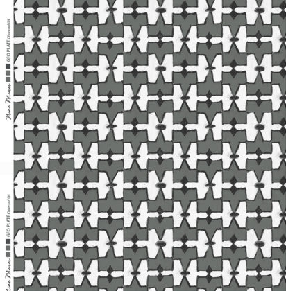 Linen fabric printed geometric design repeat pattern in contrast charcoal and white