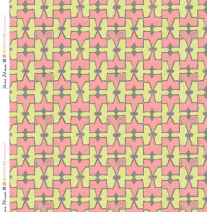 Linen fabric printed geometric design repeat pattern in contrast chartreuse green and pink