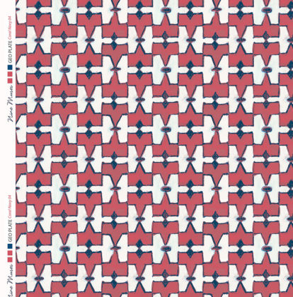 Linen fabric printed geometric design repeat pattern in contrast coral and navy