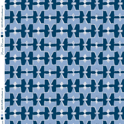 Linen fabric printed geometric design repeat pattern in contrast navy and cornflower blue