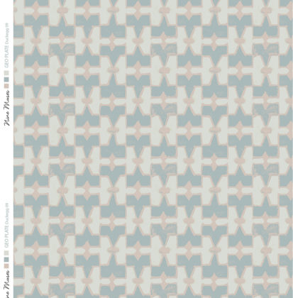 Linen fabric printed geometric design repeat pattern in contrast duckegg blue green and taupe