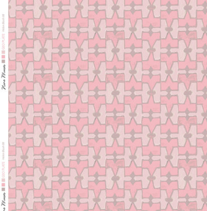 Linen fabric printed geometric design repeat pattern in contrast pale and blush pink