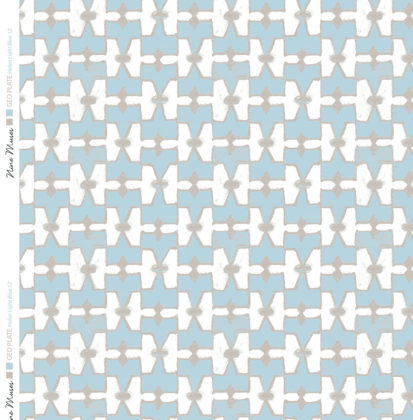 Linen fabric printed geometric design repeat pattern in contrast light blue