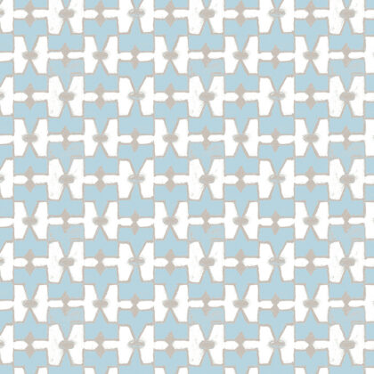 Linen fabric printed with geometric design in repeat pattern in light blue