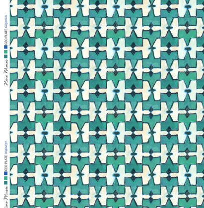Linen fabric printed geometric design repeat pattern in contrast green turquoise