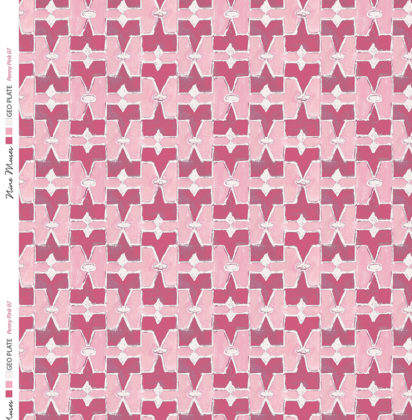 Linen fabric printed geometric design repeat pattern in contrast dark and light pink