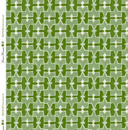 Linen fabric printed geometric design repeat pattern in contrast chartreuse dark and light green
