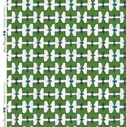 Linen fabric printed geometric design repeat pattern in contrast ink and green
