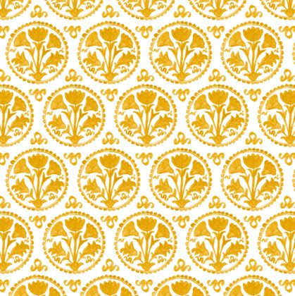 Linen fabric printed with traditional repeat pattern in gold design