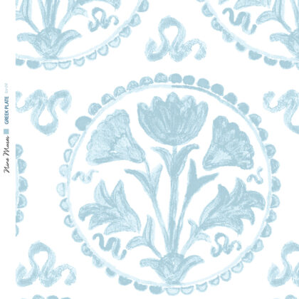 Linen fabric printed design of traditional circle floral pattern in pale ice blue on white background