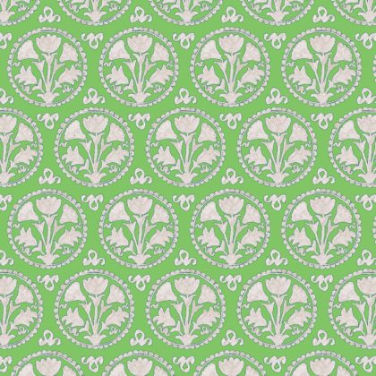 Linen fabric printed with traditional design repeat pattern in green