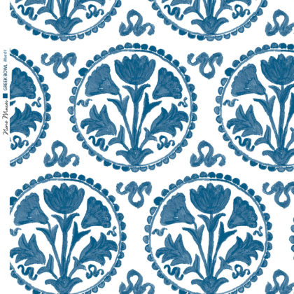 Linen fabric printed design of traditional circle floral pattern in blue on white background