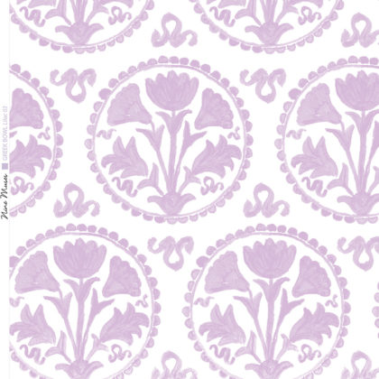 Linen fabric printed design of traditional circle floral pattern in lilac on white background