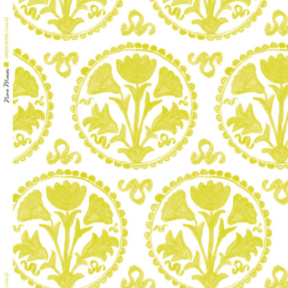 Linen fabric printed design of traditional circle floral pattern in lime on white background