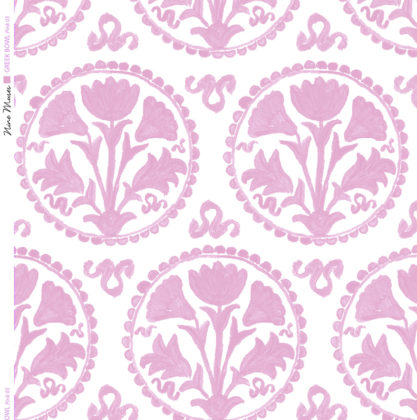 Linen fabric printed design of traditional circle floral pattern in pink on white background