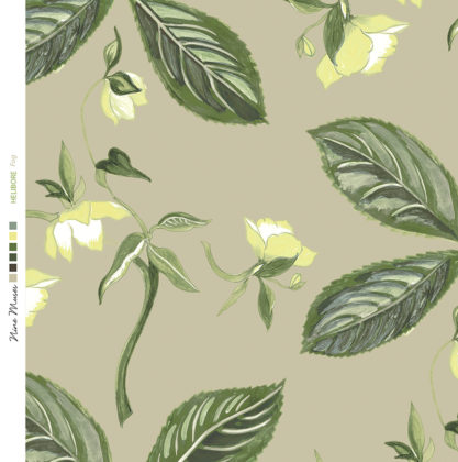Linen fabric printed with a repeat design of delicate floral pattern on fog taupe background