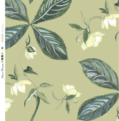 Linen fabric printed with a repeat design of delicate floral pattern on green background