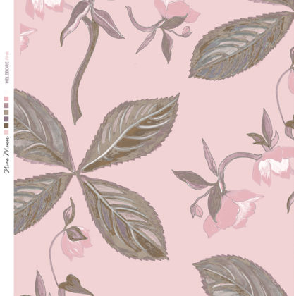 Linen fabric printed with a repeat design of delicate floral pattern on pink background