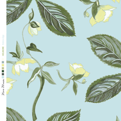 Linen fabric printed with a repeat design of delicate floral pattern on pale aqua blue background