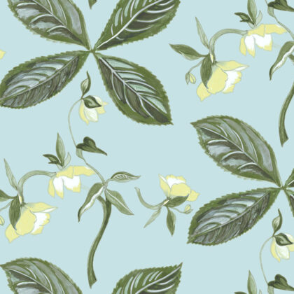 Linen fabric printed with floral repeat design pattern in aqua
